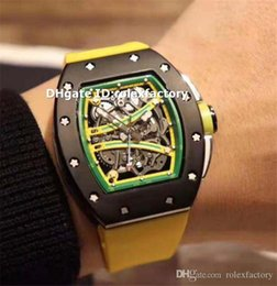 Luxury Mens Yellow Watches Australia - New Luxury 61-01 Yellow Mens Watch Black Stainless Steel Skeleton Dial Automatic Sapphire Rubber Strap Super Luminous Wristwatch 3 Color