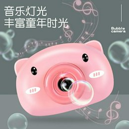funny camera UK - 2020 fashion net red explosion models automatic funny cute cartoon pig soap children bubble machine camera fdhjf