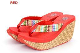 $enCountryForm.capitalKeyWord Australia - New Bohemian Super High-heeled Sandals and Slippers Female Wedges with Summer Non-slip Waterproof Tables Beach Flip-Flops
