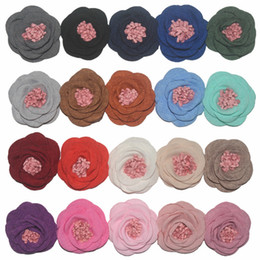 Hair Color Edges NZ - 2018 Wholesale Fashion Rubber band hair ring fabric burning edge curling flower hair rope with flower core baby tie rope 20 color