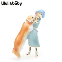 Discount dog brooches - Wuli&baby Pink Blue Dress Girl Hugging Dog Brooches Women Alloy Enamel Animal Casual Party Brooch Pins Gifts