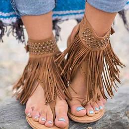 5e9e229ca1e Women Sandals Retro Rome Flat Ladies Flip Flops Gladiator Women Buckle  Strap Fringe Sandalia Feminina Summer Shoes Sandalias