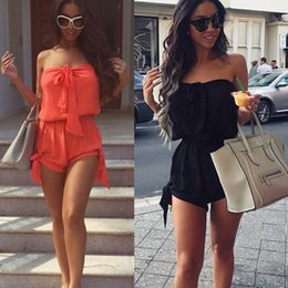 $enCountryForm.capitalKeyWord UK - Hot Summer Women Sexy Jumpsuit Off Shoulder Lace-up Sleeveless Elastic Solid Color Casual Short Romper IE998