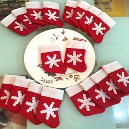 party decorations for year Canada - 2018 Christmas Decorations for Home Dining Table Place 12pcs lot Small Christmas Socks Festival New Year Party Supplies