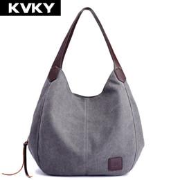 Ladies Handbags Multi Pockets Australia - Kvky Brand Women's Canvas Handbags High Quality Female Hobos Single Shoulder Bags Vintage Solid Multi-pocket Ladies Totes Bolsas Y19061301