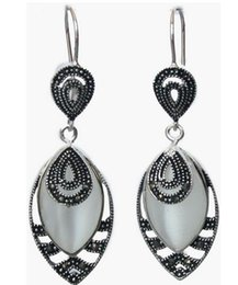 $enCountryForm.capitalKeyWord Australia - wholesale good Pretty Vintage Inlay Marcasite 925 Silver Hooks Earrings 21 5""