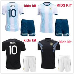 kid argentina messi jersey NZ - 19 20 National Team Youth Argentina Football Jerseys MESSI KUN AGUERO DI MARIA DYBALA ICARDI Customize 2019 Home Kids Soccer Jersey Shirt