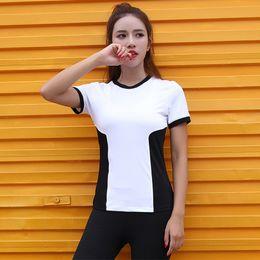$enCountryForm.capitalKeyWord Australia - Summer Round Neck Yoga Shirts Tops Women Black White Color Block Running Shirt Short Sleeve Sport T Shirt Slim Fitness Clothing