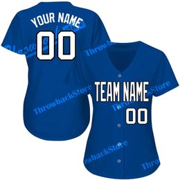 Women s products online shopping - Women Custom Baseball Jerseys Any Name Number Cheap Embroidery Blue Jersey High Quality Products Directly Free Ship