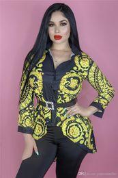 $enCountryForm.capitalKeyWord Australia - Luxury Women Designer Shirt Fashion Glod Chain Printed Lapel Neck Long Sleeve Shirts Fashion Fancy Women Blouse Shirt