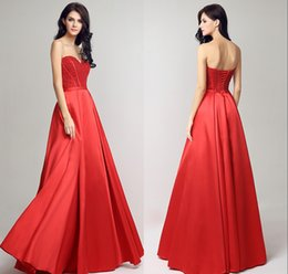 Balls Bra Australia - 2019 New Spring And Summer Bra A-Line Formal Evening Dresses Red Satin Back Strap Long Beaded Ball Prom Party Gowns DH46