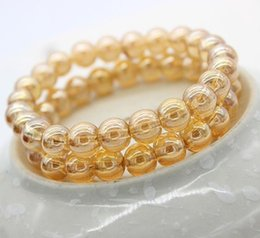 $enCountryForm.capitalKeyWord NZ - Preserve color crystal bracelet imitation zircon champagne color glass beads hand string gifts hot style wholesale