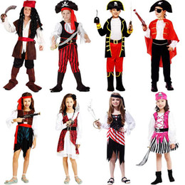 pirates caribbean movie costumes Australia - pirates in the caribbean captain jack sparrow kids pirate clothing girls boy girl cosplay halloween costume for kids boys