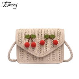 $enCountryForm.capitalKeyWord NZ - New Cherry Pendant Crossbody Bags For Women Summer Bohemian Style Straw Beach Bag Hand Made Woven Knitting Rattan Bag
