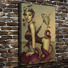 $enCountryForm.capitalKeyWord Australia - Sexy Girl Diving Fishing Figure Scenery,1 Pieces Home Decor HD Printed Modern Art Painting on Canvas (Unframed Framed)