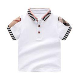 Venta al por mayor de Venta al por menor de color sólido de la solapa de los bebés de los niños camiseta para el verano niños niños niñas camisetas Ropa de algodón Toddler Tops Toddler Girl Camisas Chicas camisa