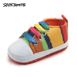 Infant Girls Canvas Shoes Australia - Lovely Infant Soft Bottom Shoes First Walkers Spring Autumn Kids Baby Boys Girls Stripes Rainbow Canvas Sneakers