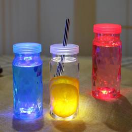 Discount plastic bottles lids juice - Luminous Juice Cup Portable Environmental Protection Children's Plastic Beverage Bottle Cute Summer Kettle Outdoor