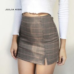 fb52d39078 Women small skirts online shopping - Women Checked Mini Skirt With Two  Small Front Slits Q190508