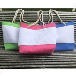 Stripe canvaS tote beach bagS online shopping - Color Stripes Canvas Tote Beach Bag Women Ladies Designer Handbag Large Capacity Casual Shoulder Bag Hemp Rope Shopping Big Totes New A52005