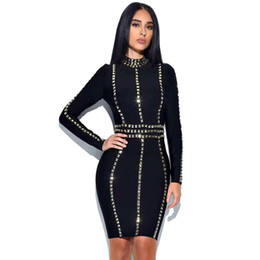 $enCountryForm.capitalKeyWord NZ - O-neck Full Rivet Diamonds Empire Hip Party Hot Sale Fashion Bandage Dress Celebrity Sexy Women Body Con Dresses