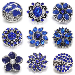metal snap flower buttons Australia - New Noosa 18mm Snap Jewelry Mixed Blue Rhinestone Flower Metal Snap Buttons Fit Snap Bracelet Bangles Necklaces Chunk Women Jewelry