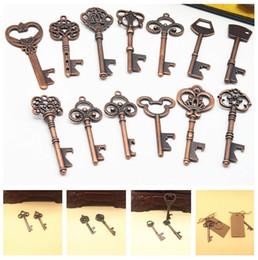 $enCountryForm.capitalKeyWord Australia - 13 creative vintage key opener wedding gift key ring pendant bronze key classic bar tool T3I5051