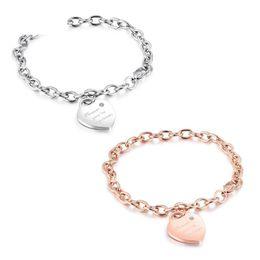 Korean Rose Gold Accessories Australia - Korean Version of Heart-shaped Pendant Bracelet Titanium Steel Plated Rose Gold Women's Love Chain Bracelet Student Accessories