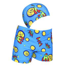 New men's children's swimming trunks swimming cap suit cartoon swimsuit children baby children's boxer trunks wholesale on Sale