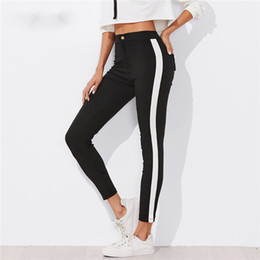 Skinny Sports Australia - Contrast Panel Side Skinny Ankle Jeans Summer Straight Leg Zipper Fly Pants Women Black Sporting Striped Pants
