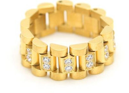 $enCountryForm.capitalKeyWord Australia - Hip hop Men Stainless steel Chain Ring Zircon Rhinestone Three Bead Watch Strap Golden Rings Fashion Punk Jewelry