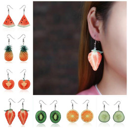 tomato gifts UK - Creative Fashion Fruit Earrings Oranges Tomatoes Apple Watermelon Strawberry Lemon Cute Small Summer Korean Earrings Women gift