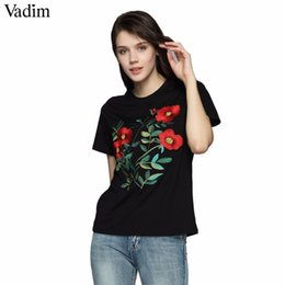 $enCountryForm.capitalKeyWord NZ - Vadim Women Sweet Floral Embroidery T Shirt O Neck Short Sleeve Black Tees Ladies Summer Casual Brand Tops Camisetas Dt1179 Q190518