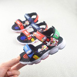 Summer Cartoon Sandals Australia - Brand Childrens Shoes Wholesale Summer 2019 Yidalong New Cartoon Childrens Beach Shoes Flash Softsole Sandals
