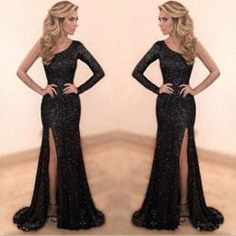 a38e6e7944f Sparkly Black Sequined Prom Dresses 2019 Custom Made One Shoulder Mermaid  Long Party Dress Sexy Side Slit Evening Gowns robe de soiree
