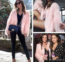 sexy outerwear coats UK - Outerwear Loose Sexy Ladies Fur Coats Winter Designer Womens Fur Coat Solid Color V Neck Long Sleeve Womens