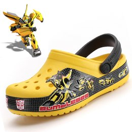 Clogs Leather Canada - 2019 New boys shoes for summer children Kid Bumblebee Clog kids Beach Sandals Glowing sneakers yellow for grils