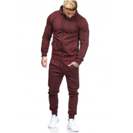 running decorations UK - Men's Sports Suit Arm Zipper Decoration Fitness Leisure Running Suit jogging suits for men workout clothes for men jogging