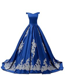 $enCountryForm.capitalKeyWord Canada - Sexy Off Shoulder Prom Dresses Ball Gown Appliques Lace Sweep Train Formal Evening Dresses Cocktail Party Gown Lace-Up Back