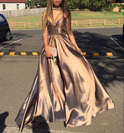 Plus Size Dresses For Teens Australia - New Arrival Sexy Simple Prom Dress V Neck Long Evening Dress For Teens Unique Stain Party Dress