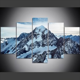 Mounting Canvas Prints Australia - 5 Piece Large Size Canvas Wall Art Pictures Creative Peaks of Mount Cook, New Zealand Art Print Oil Painting for Living Room