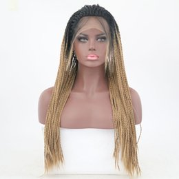 straight blonde wig roots Australia - Twist Crochet Braided Synthetic Wigs Ombre Blonde Lace Front Wigs Straight Heat Resistant Fiber Hair Wig Cospaly Party Two Tone Black Root