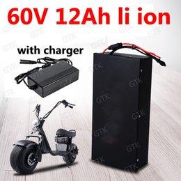 Опт Водонепроницаемый GTK 60V 12Ah Литий-ионный аккумулятор 18650 BMS для 1000 Вт с двумя колесами Складной скутер citycoco X10x7X8 + 2A зарядное устройство