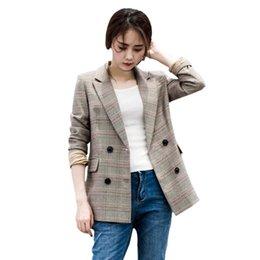 $enCountryForm.capitalKeyWord Australia - Autumn Plaid Long Blazer Women double breasted Blazer Long Sleeve Suit Jacket Female Casual Coat