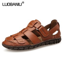 470e73d078b LUOBANIU Brand 2017 Size 38-44 Black Brown Coffee Color Cool Beach Sandals  Summer Top quality Leather Lazy Tape Men Shoes 1788