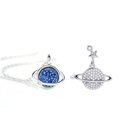 cz chains Australia - Fashion Silver Plated Earth Planet Necklace Choker Chain CZ Kyanite Fragment Ins Star Pendant Necklace for Women Collar Party