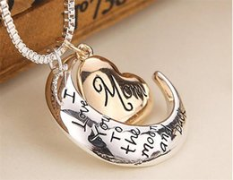 Pendant Backs Australia - High Quality Heart Jewelry I love you to the Moon and Back Mom Pendant Necklace Mother Day Gift Wholesale Fashion Jewelry