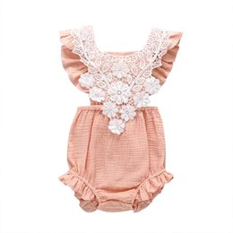 $enCountryForm.capitalKeyWord UK - Stylish Designer INS Toddler Baby Girls Blank Rompers Front Lace Bodysuits Fly Sleeve Jumpsuits Summer Square Neck Kids Girls Onesies 0-2T