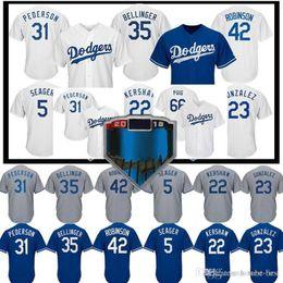 50511c5a9 Los Angeles 22 Clayton Kershaw Dodgers Jersey 5 Corey Seager 35 Cody  Bellinger 66 Yasiel Puig 10 Justin Turner 3 Chris Taylor 31 Pederson