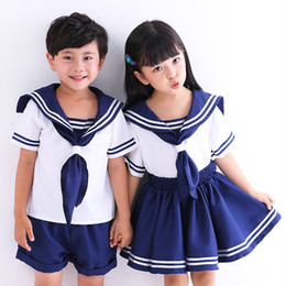 Discount anime school girl uniform cosplay 2 Pieces Clothing Set Cute Anime Kid Baby Girls Boys Sailor Moon Cosplay Dress Bowknot Kawaii Lolita School Navy Uniform